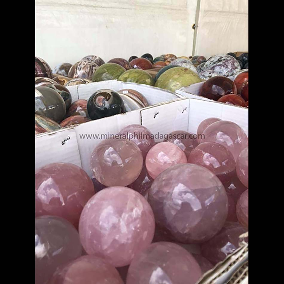 rose quafrtz and jasper spheres