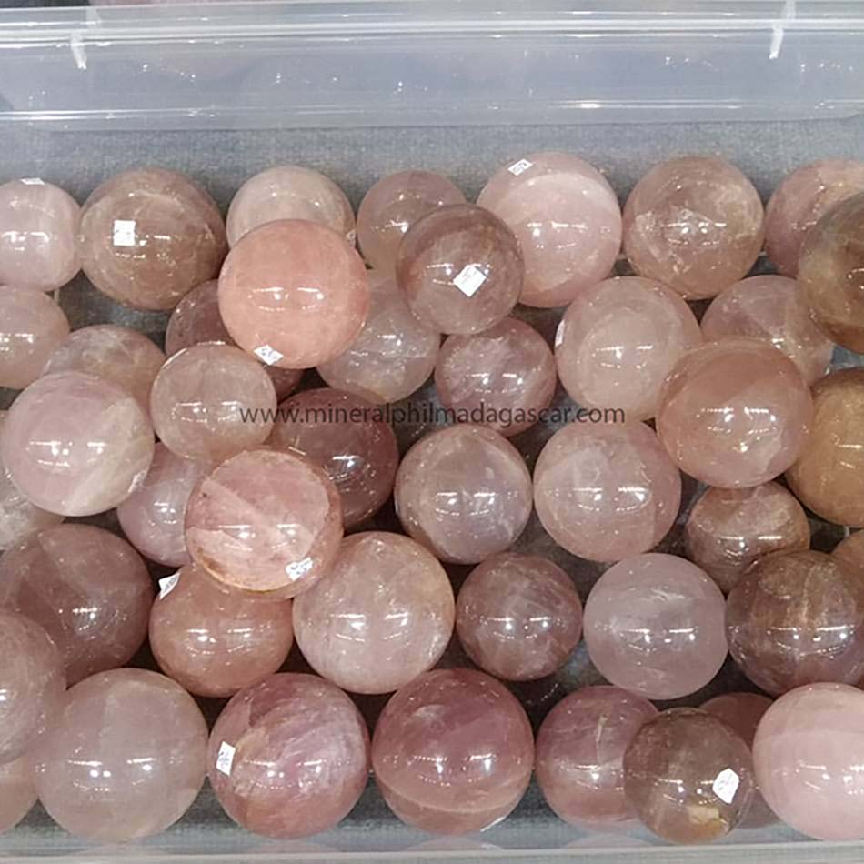rose quartz spheres with stars